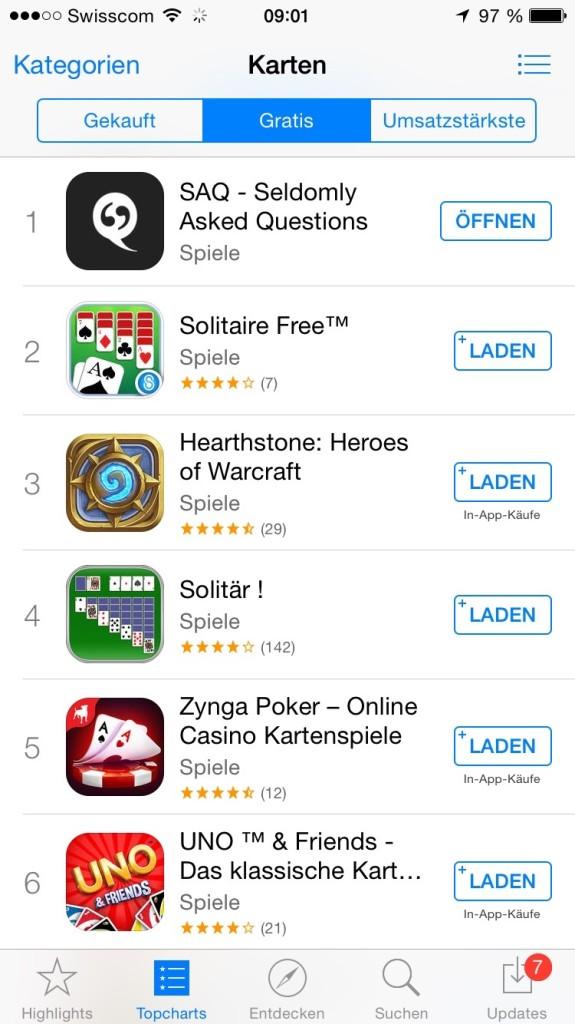 SAQ iOS Store Ranking Karten