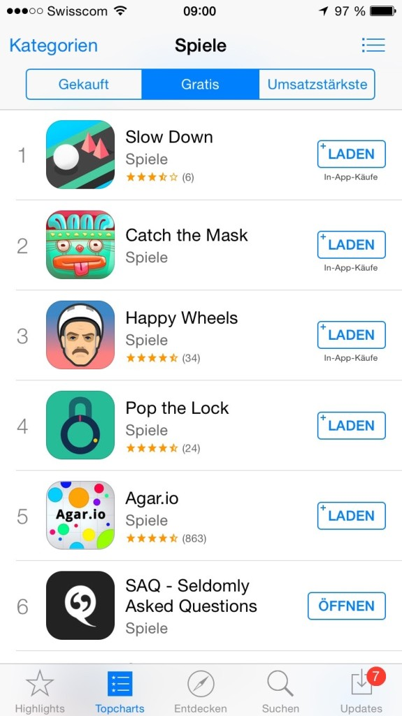 SAQ iOS Store Ranking Spiele